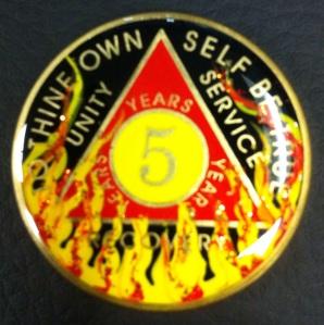 Lauren L's 5 year AA medallion!